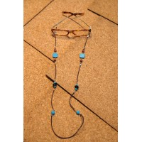 Turquoise and Brown Eye-Glass Chain