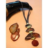 Triple Agate Necklace - Black