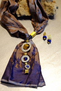 Shades of Grey Jewelled Scarf + Lapis Filigree Earrings